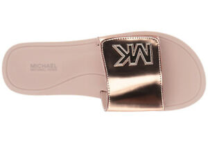 dbf1ca7374cf NIB Michael Kors Mirror Metallic Slide MK Logo Rose Gold Pink Womens ...