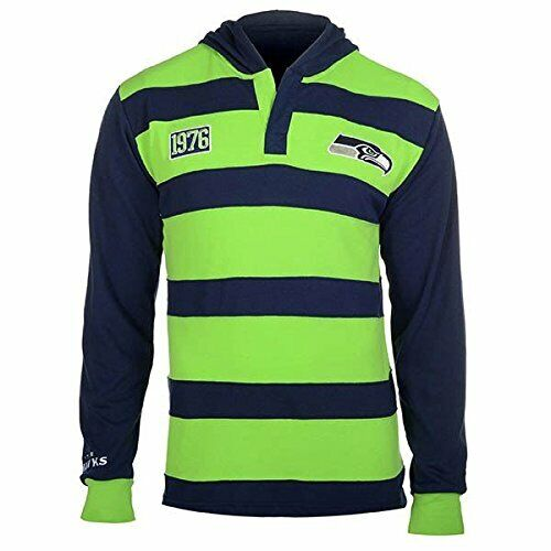 KLEW Men/'s NFL Seattle Seahawks Cotton Rugby Hoodie Shirt