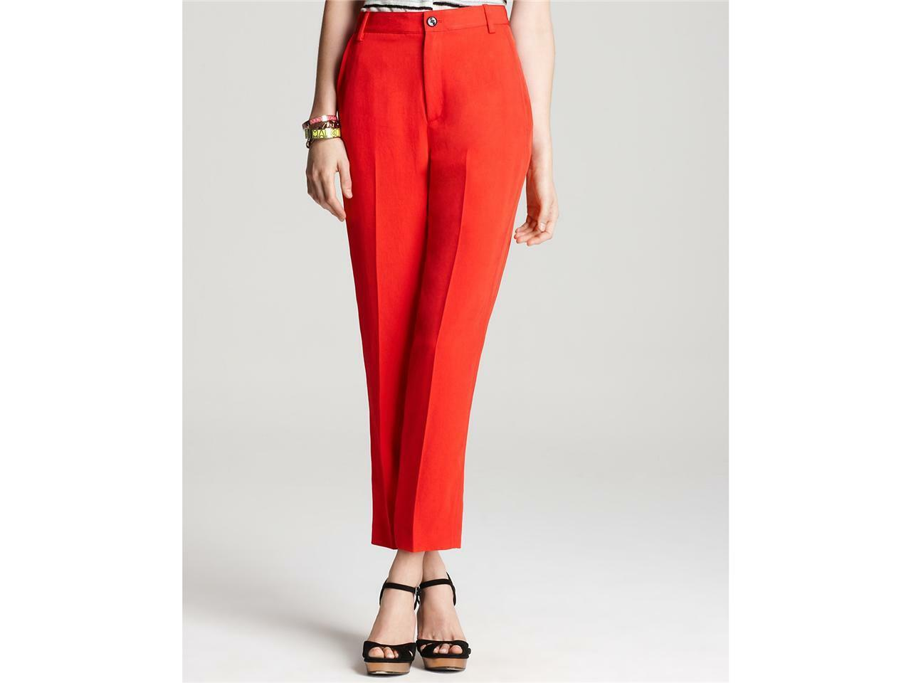 Marc Jacobs Clark Red Twill Flat Front Dress Pants  Size 10 NWT