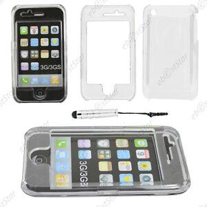 Coque-Housse-Etui-Rigide-Transparent-Apple-iPhone-3GS-3G-Mini-Stylet