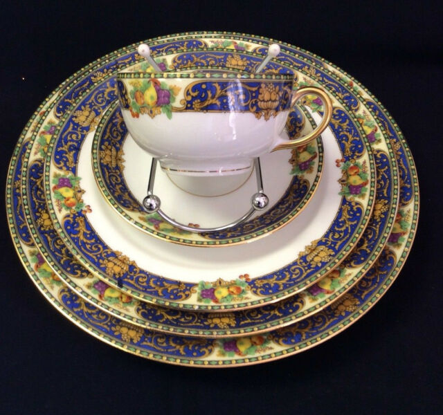 J Pouyat JP LIMOGES  France W 5 PC table china setting cobalt blue gold scroll