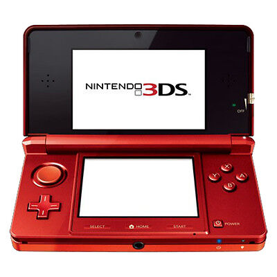 Nintendo 3DS - Flame Red Handheld System Very Good Condition