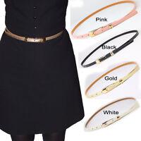 Ladies Women Girls Fashion Skinny Thin PU Leather Waist Belt Waistbelt
