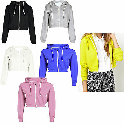 New Womens Ladies PLAIN CROP HOODIE Zipper Sweatshirt Cosy Hoody Dance Girls