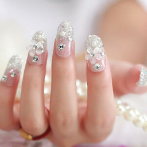 3D Bride Wedding False Artificial Fake Nails Tips French White Stud ...