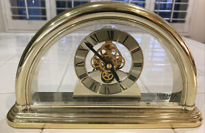 Verichron Quartz Mantle Clock with Skeleton Movement Gold Colored
