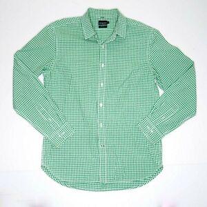 Sportscraft-Men-039-s-Tapered-Fit-Gingham-Plaid-Long-Sleeve-Green-Shirt-Size-M