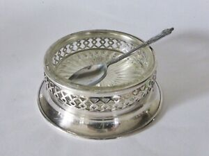 1930-Silver-Plated-Laticework-Jam-Butter-Dish-with-Glass-Liner-amp-Apostle-Spoon