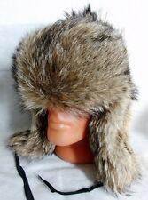 Genuino Ruso Ushanka Invierno Grande de Piel de Lobo Real Sombrero * Tamaño Mediano 57-58cm