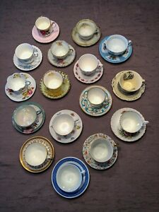 Teacups-and-Saucers-Lot-16-Sets-Mismatched-Wedding-Shower-High-Tea-Party-Lot-12A