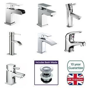 Cloakroom-Chrome-Luxury-Bathroom-Modern-Basin-Sink-Mono-Square-Mixer-Tap-amp-Waste