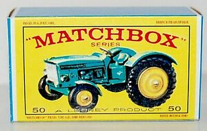 Matchbox-Lesney-No-50-JOHN-DEERE-LANZ-700-TRACTOR-Empty-Repro-Box-style-E