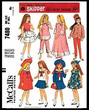 """Barbie sister 9"""" SKIPPER DOLL Fabric Sewing Pattern Mattel McCall's 7480 Clothes"""