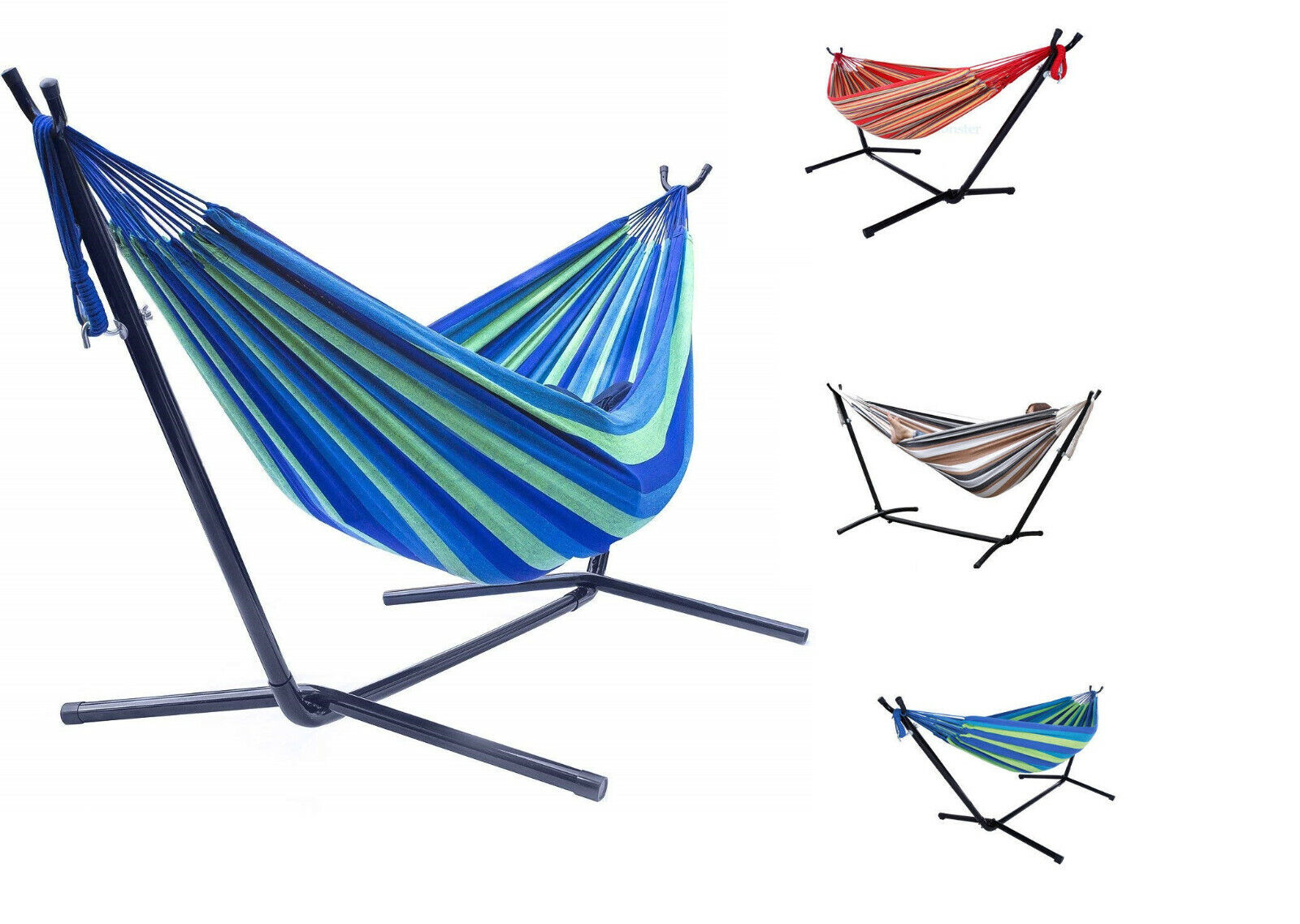 Cup Holder and Carrying Bag BCP Double Hammock Set w// Stand Tray Red Stripe