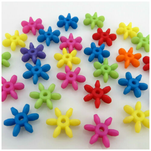 100PCS 12MM MULTI COLOURED SNOW FLAKE ACRYLIC SPACER BEADS JEWELLERY MAKING