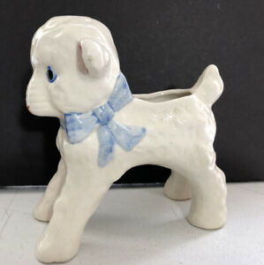 Vintage-Ceramic-White-Lamb-Planter-Occupied-Japan-Hand-Painted