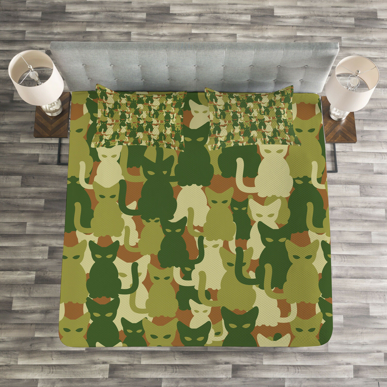 Cat Quilted Bedspread & Pillow Shams Set, Kitten Silhouettes Jungle Print