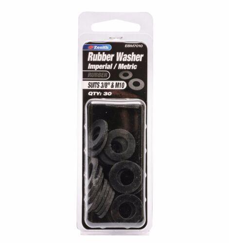 "Zenith RUBBER WASHER Imperial Metric Bolt External Black 3//8/"" M10 30pcs EBM7010"