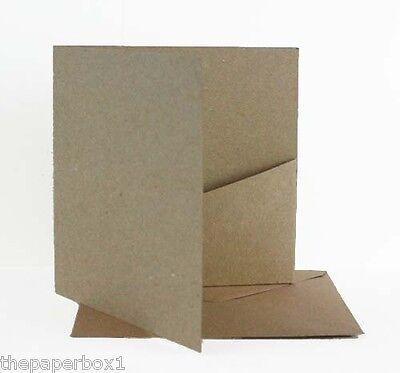Pocket Cards (V pocket) - Recycled Kraft & Envelopes, Blank DIY Wedding
