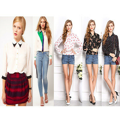 2014 Women Ladies Chiffon Long Sleeve Blouse T-shirt Print Casual Blouse