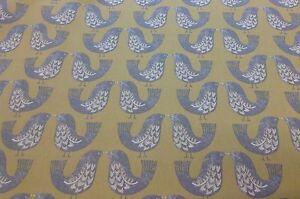 iliv SMD Scandi Mustard Birds Cotton Fabric.Curtains/Upholstery/Craft/Cushions