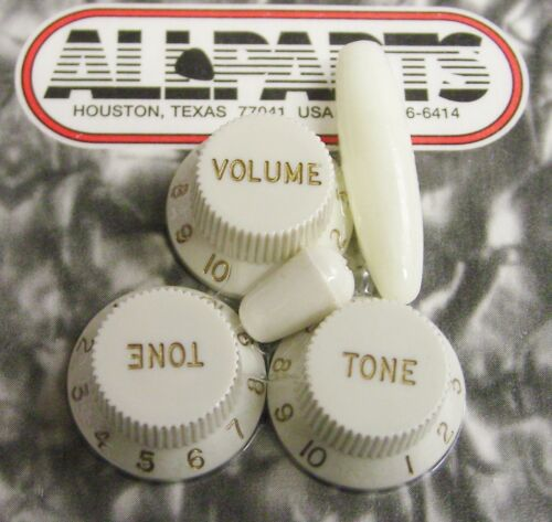 Fender Strat Replacement Knob Set 1 Vol 2 Tone Trem /& Switch Tips Parchment