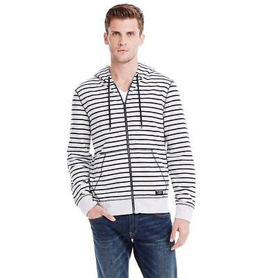 New Armani Exchange Mens Muscle Slim Fit Striped Fleece Hoodie h6m605st