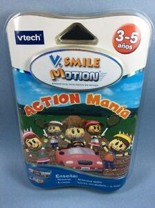 VTech VSmile Motion Action Mania Spanish Cartridge Game Numbers Food Colors New