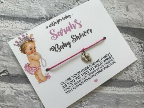 Personalised Baby Shower Make a Wish Bracelets Vintage Cute Baby Design