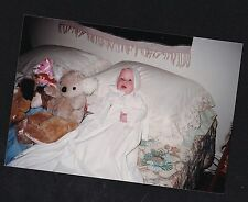 Vintage Photograph Adorable Baby in Christening Outfit With Stuffed Animals