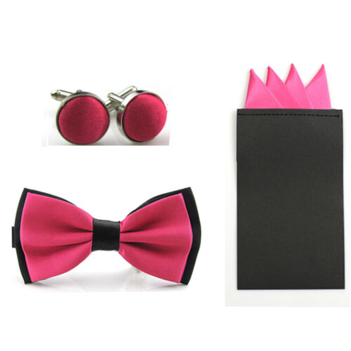 Men's Solid Cufflinks Bowtie Set Pre-tied Bow Tie 4 Fold Pre-folder Handkerchief