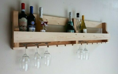 Wall Mounted Wine Rack 16 Bottles Champagne 12 Glass Holder Bar Accessories