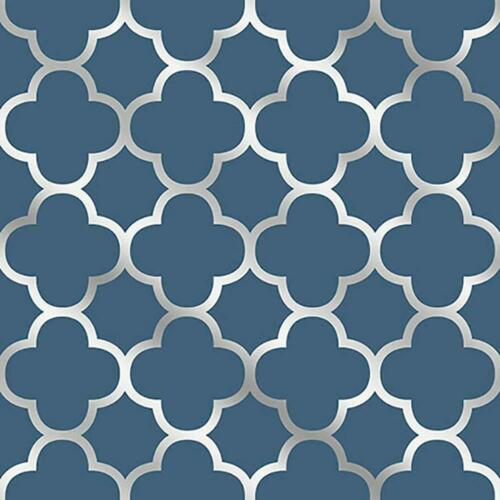 Blue quadrilobes Papier Peint Fine Decor Collez Le mur bleu marine argent métallisé