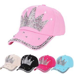 Women s Sports Rhinestone Heart Crown Baseball Cap Snapback Hip Hop ... a6a546afb1