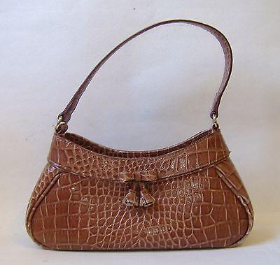 Brown Faux Snakeskin Liz Claiborne Purse Handbag Tote Lined Bow Tassel Cute
