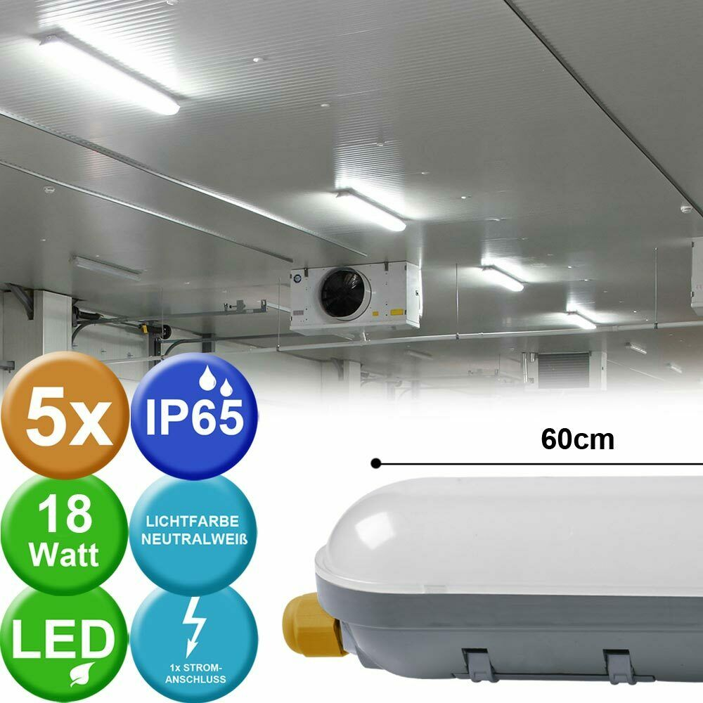 5x LED Tubes Tubes Lampes Plafond Projecteurs Wet Room Warehouse Halls Lights