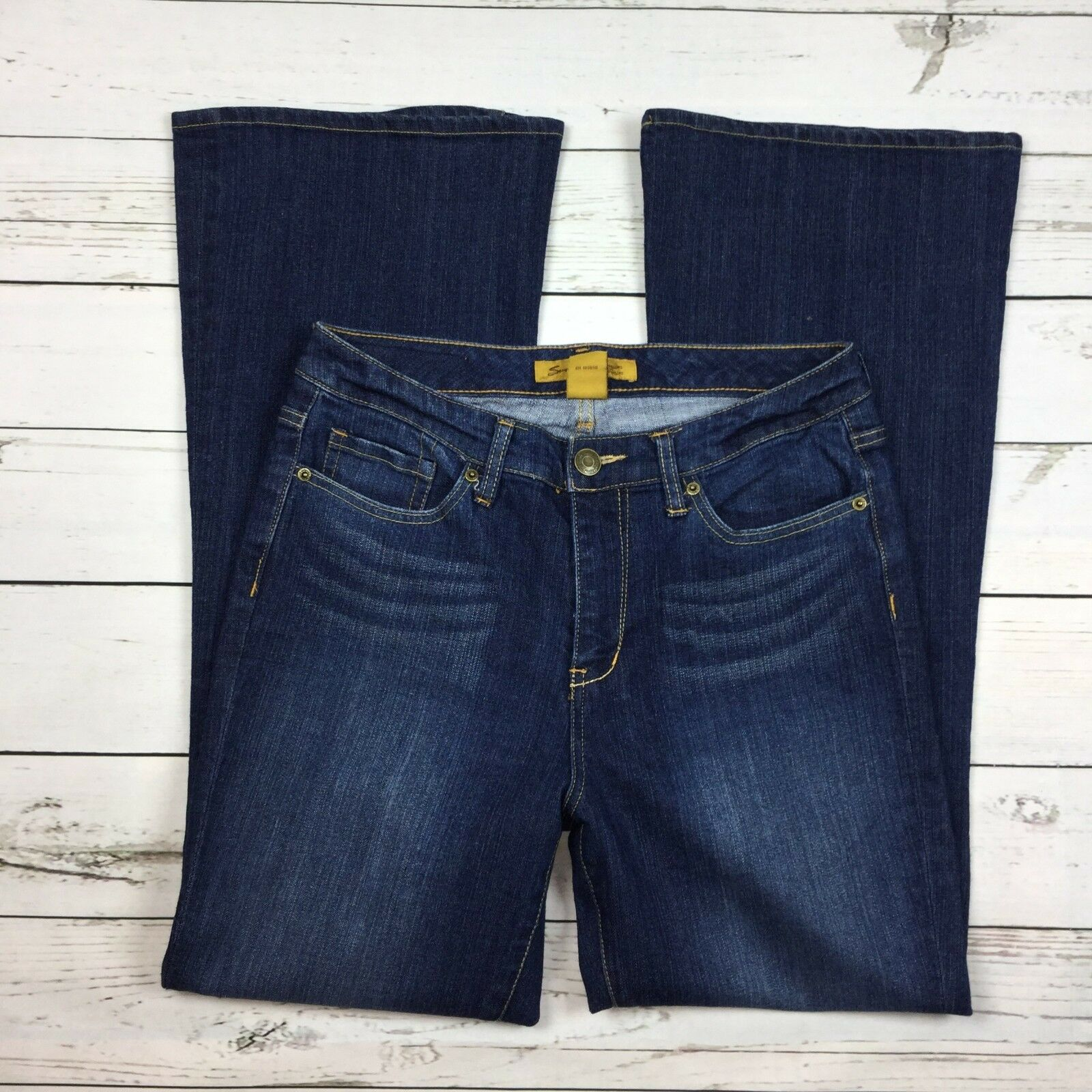 Seven7 Jeans Size 8 Womens Flare Leg Stretch Denim Medium Wash
