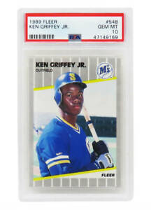 Ken Griffey Jr Mariners 1989 Fleer Baseball #548 RC Rookie Card -PSA 10 GEM MINT