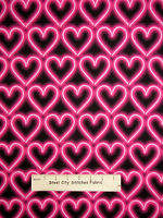Printed Neon Pink Heart Valentine Cotton Fabric Benartex 05795 Luv To Dance YARD