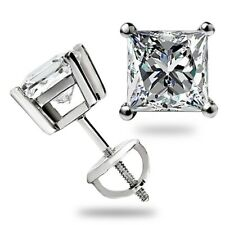 3 Ct Emerald Cut Earrings Studs Real 14K White Gold Brilliant Basket Screw Back