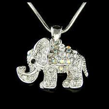 w Swarovski Crystal ~Holy Elephant~ Good Luck Lucky Wish Charm Pendant Necklace