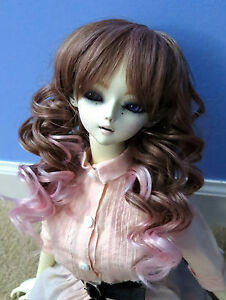 Doll-Wig-Long-Layered-Curly-Brown-Light-Pink-BJD-Size-8-9-10-NEW