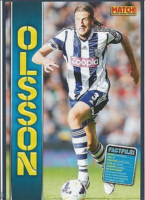 MATCH!-POSTER 2013/14-WEST BROMWICH ALBION & SWEDEN-N.E.C.-JONAS OLSSON