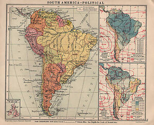 Map Of America Political.Details About 1934 Map South America Political With Rainfall Pressure Winds