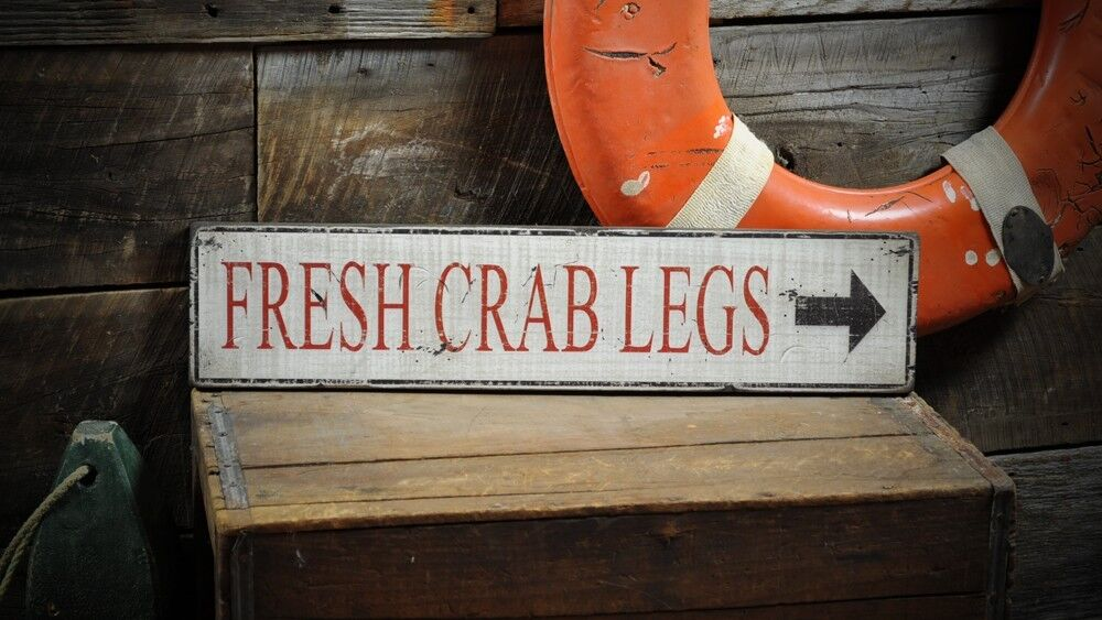 Fresh Crab Legs w  Arrow Sign - Rustic Hand Made Vintage Wooden ENS1000318