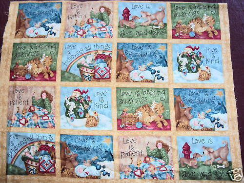 Love is Cotton Quilting Panel Fabric 32 Panels