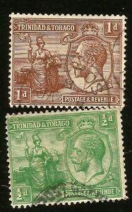 1922-TRINIDAD-amp-TOBAGO-INSELN-1-2-amp-1d-KING-GEORGE-V-ZWEI-GEBRAUCHT-BRIEFMARKE