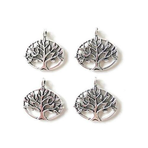 Buddly Crafts Silver Tone Metal Charms 4pcs Tree Ovals 28mm x 27mm