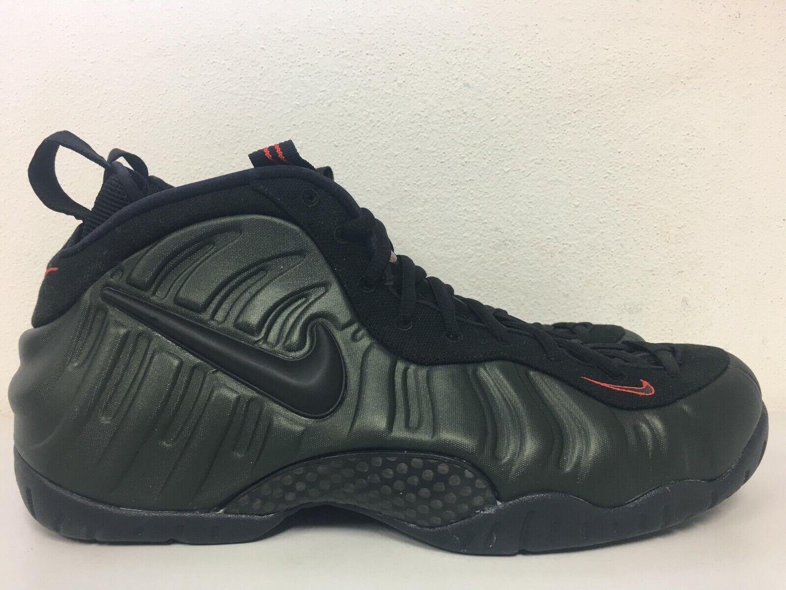 Nike Air Foamposite Pro Sequoia Black Team orange 624041-304 Mens Size 12