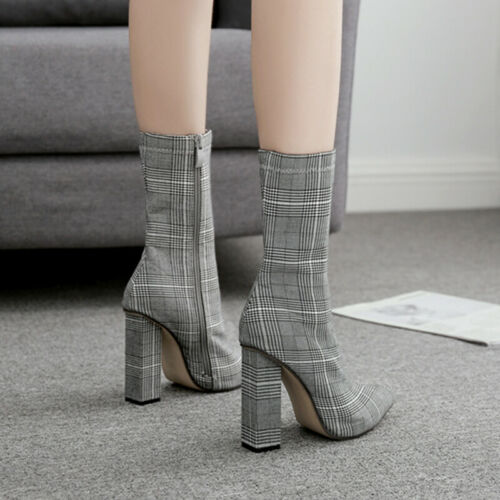 Womens Boots High Heels Pointed Toe Block Mid Top Boots Casual Fall Winter Shoes